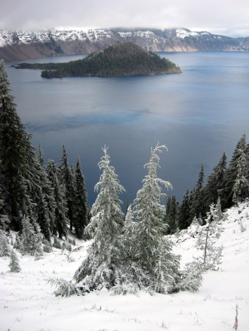 Crater Lake view with two trees in foreground 10-2013