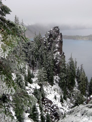 Rock outcrop in snow Crater Lake 10-1-13