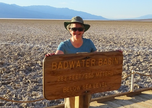 Beverly with Badwater sign Death Valley 2-2016 smaller